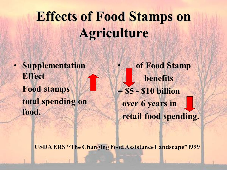 Effects of Food Stamps on Agriculture Supplementation Effect Food stamps total spending on food.