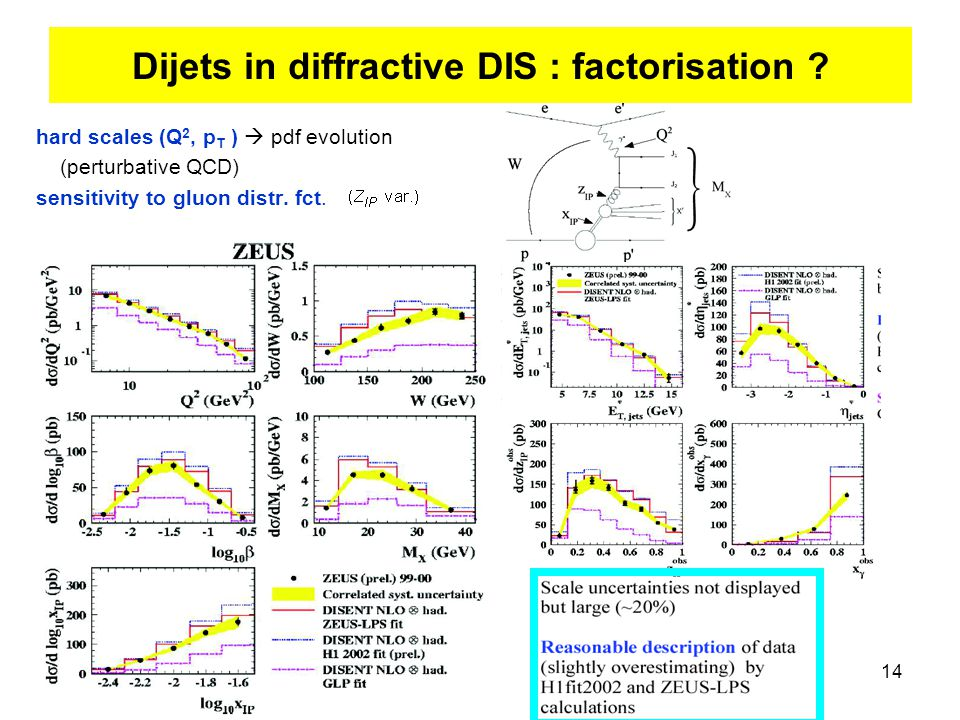 14 hard scales (Q 2, p T )  pdf evolution (perturbative QCD) sensitivity to gluon distr.
