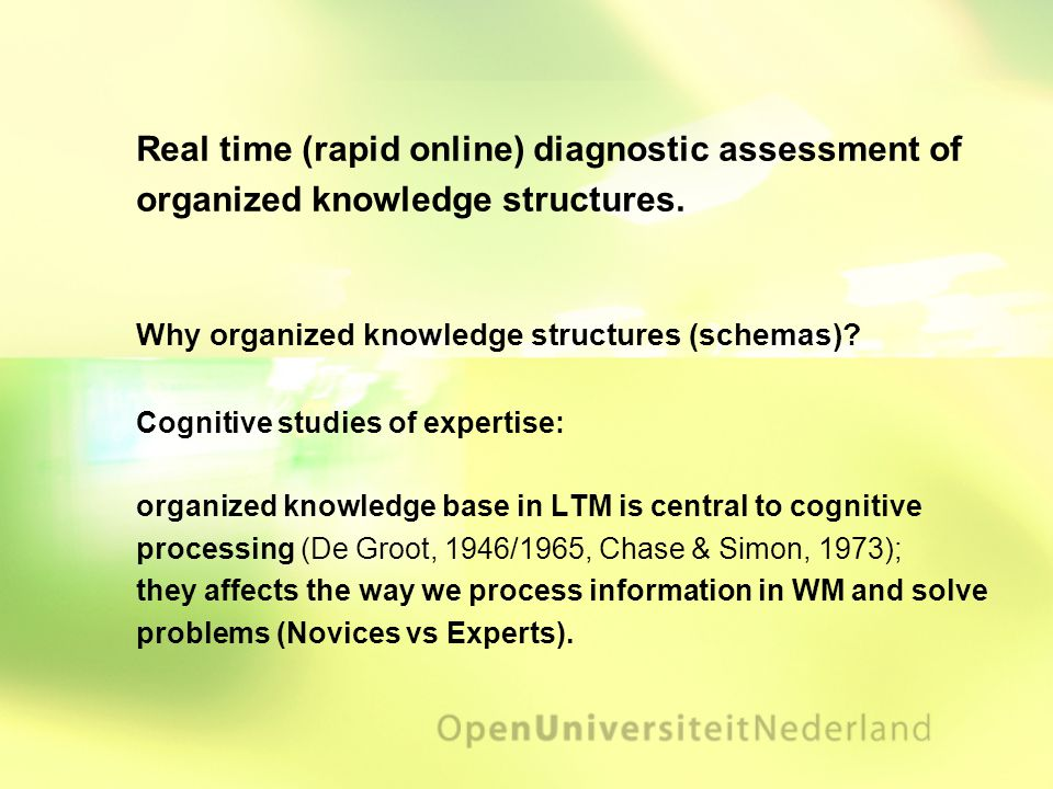 Real time (rapid online) diagnostic assessment of organized knowledge structures.