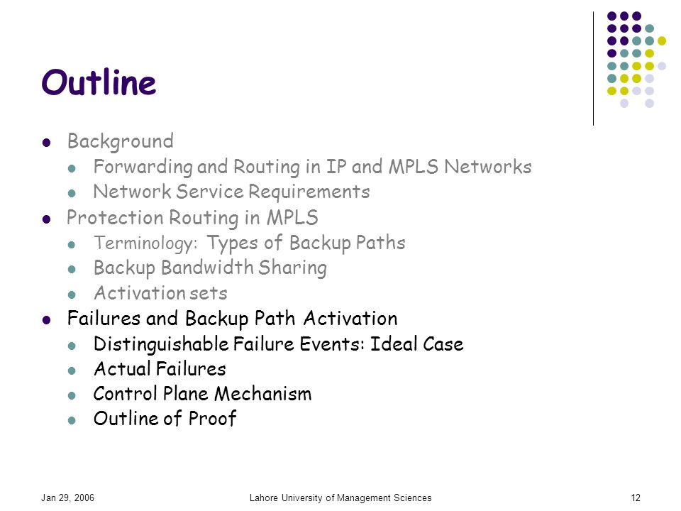 Jan 29, 2006Lahore University of Management Sciences12 Outline Background Forwarding and Routing in IP and MPLS Networks Network Service Requirements Protection Routing in MPLS Terminology: Types of Backup Paths Backup Bandwidth Sharing Activation sets Failures and Backup Path Activation Distinguishable Failure Events: Ideal Case Actual Failures Control Plane Mechanism Outline of Proof
