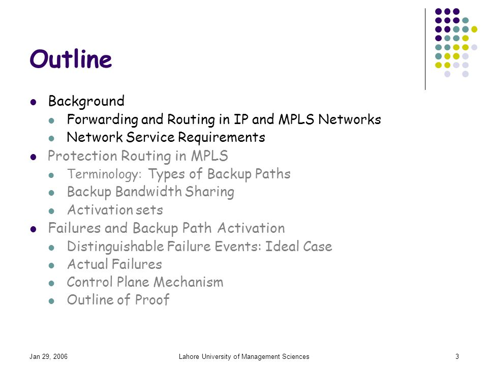 Jan 29, 2006Lahore University of Management Sciences3 Outline Background Forwarding and Routing in IP and MPLS Networks Network Service Requirements Protection Routing in MPLS Terminology: Types of Backup Paths Backup Bandwidth Sharing Activation sets Failures and Backup Path Activation Distinguishable Failure Events: Ideal Case Actual Failures Control Plane Mechanism Outline of Proof