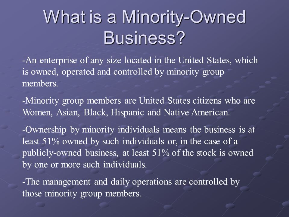 What is a Minority-Owned Business.