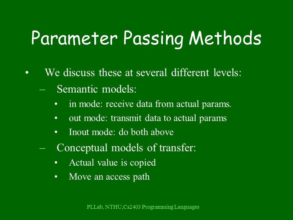 PLLab, NTHU,Cs2403 Programming Languages Parameter Passing Methods We discuss these at several different levels: –Semantic models: in mode: receive data from actual params.