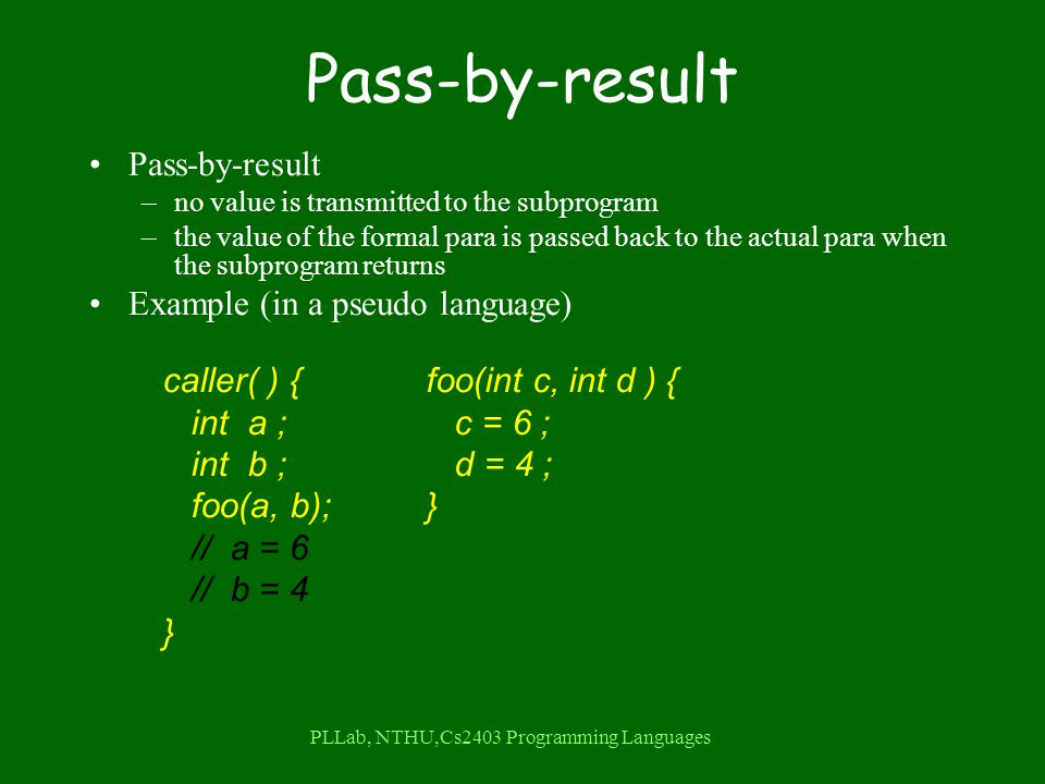 PLLab, NTHU,Cs2403 Programming Languages Pass-by-result –no value is transmitted to the subprogram –the value of the formal para is passed back to the actual para when the subprogram returns Example (in a pseudo language) caller( ) { int a ; int b ; foo(a, b); // a = 6 // b = 4 } foo(int c, int d ) { c = 6 ; d = 4 ; }