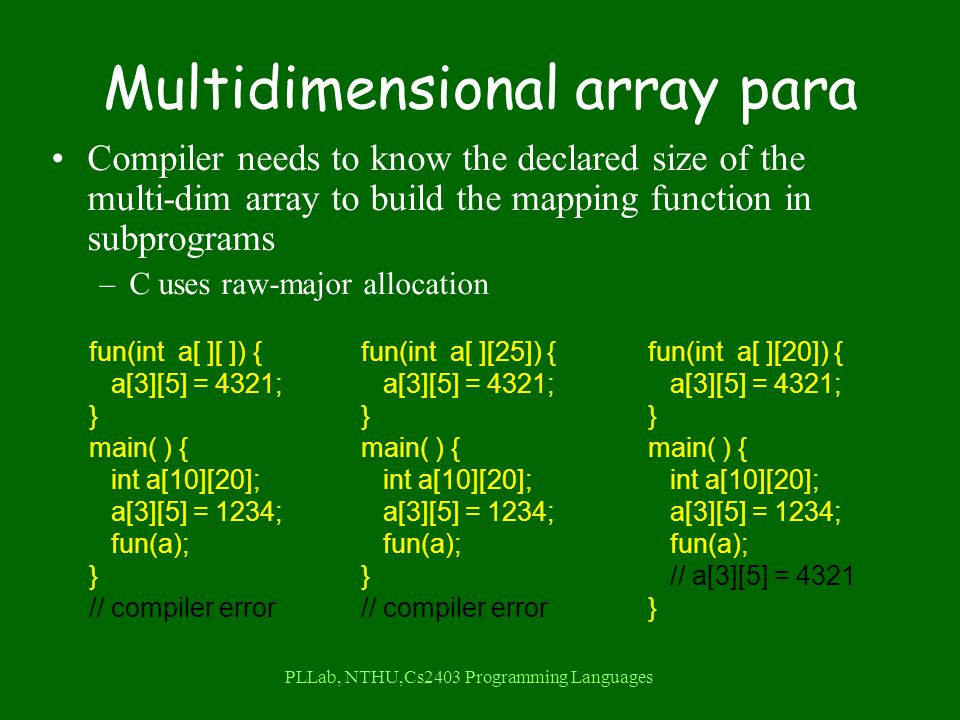 PLLab, NTHU,Cs2403 Programming Languages Multidimensional array para Compiler needs to know the declared size of the multi-dim array to build the mapping function in subprograms –C uses raw-major allocation fun(int a[ ][ ]) { a[3][5] = 4321; } main( ) { int a[10][20]; a[3][5] = 1234; fun(a); } // compiler error fun(int a[ ][25]) { a[3][5] = 4321; } main( ) { int a[10][20]; a[3][5] = 1234; fun(a); } // compiler error fun(int a[ ][20]) { a[3][5] = 4321; } main( ) { int a[10][20]; a[3][5] = 1234; fun(a); // a[3][5] = 4321 }