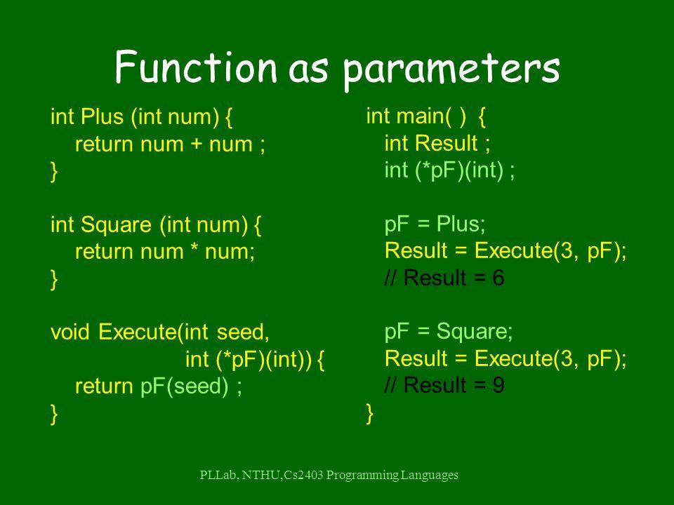 PLLab, NTHU,Cs2403 Programming Languages Function as parameters int Plus (int num) { return num + num ; } int Square (int num) { return num * num; } void Execute(int seed, int (*pF)(int)) { return pF(seed) ; } int main( ) { int Result ; int (*pF)(int) ; pF = Plus; Result = Execute(3, pF); // Result = 6 pF = Square; Result = Execute(3, pF); // Result = 9 }