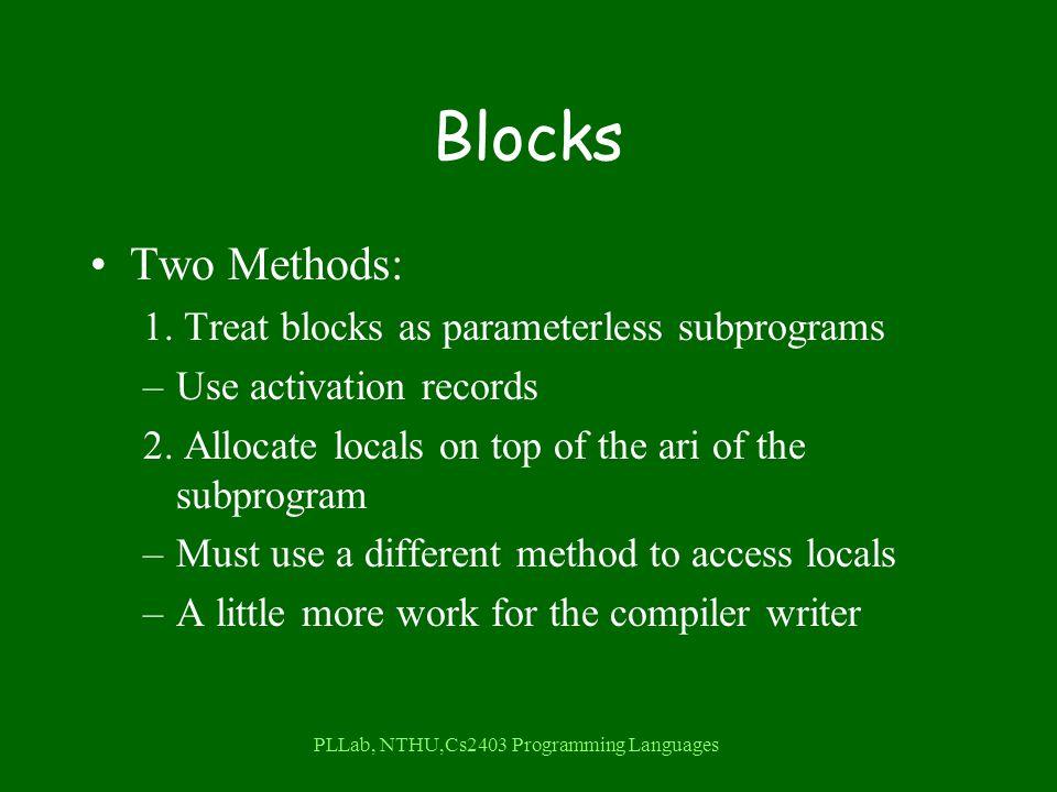 PLLab, NTHU,Cs2403 Programming Languages Blocks Two Methods: 1.