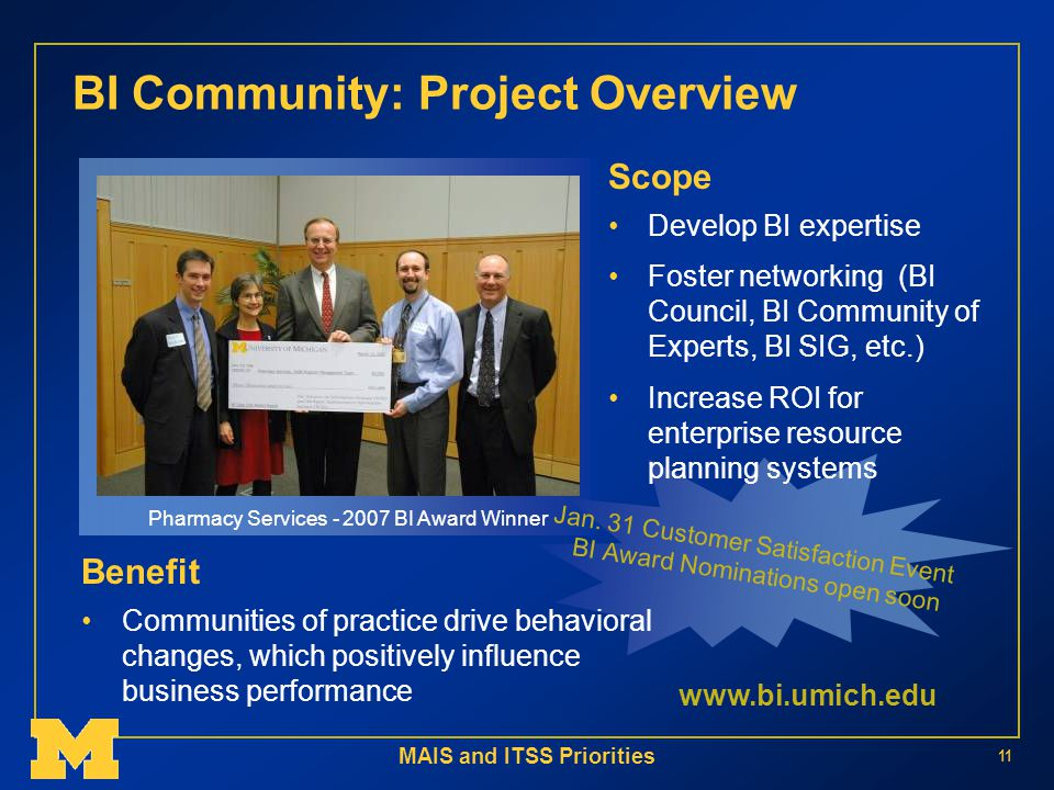 MAIS and ITSS Priorities 11 BI Community: Project Overview Pharmacy Services BI Award Winner Jan.