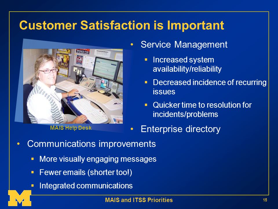 MAIS and ITSS Priorities 15 Customer Satisfaction is Important Service Management  Increased system availability/reliability  Decreased incidence of recurring issues  Quicker time to resolution for incidents/problems Enterprise directory Communications improvements  More visually engaging messages  Fewer  s (shorter too!)  Integrated communications MAIS Help Desk