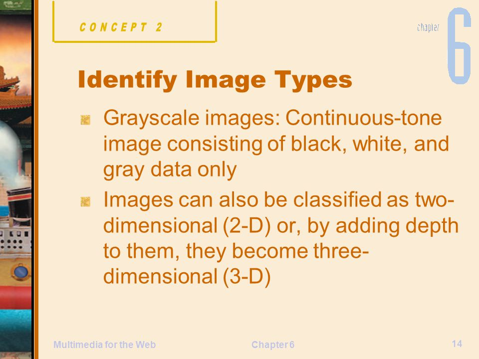 Chapter 6 14 Multimedia for the Web Grayscale images: Continuous-tone image consisting of black, white, and gray data only Images can also be classified as two- dimensional (2-D) or, by adding depth to them, they become three- dimensional (3-D) Identify Image Types