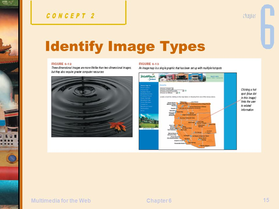 Chapter 6 15 Multimedia for the Web Identify Image Types