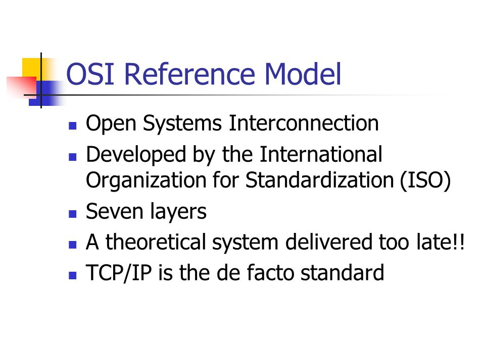 Standardized Protocol Architectures Required for devices to interoperate Vendors can have more marketable products Customers can insist on standards based equipment Two standards: OSI Reference model Never lived up to early promises de jure (i.e.