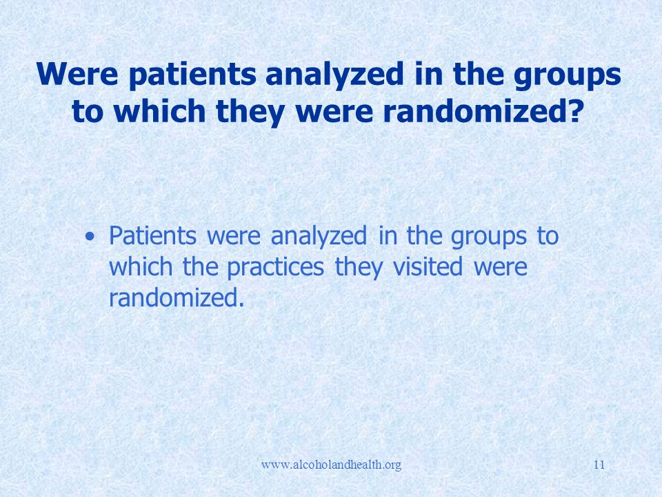 Were patients analyzed in the groups to which they were randomized.