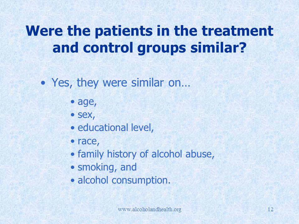 Were the patients in the treatment and control groups similar.