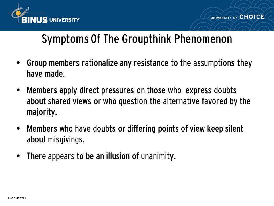a description of groupthink and its eight symptoms