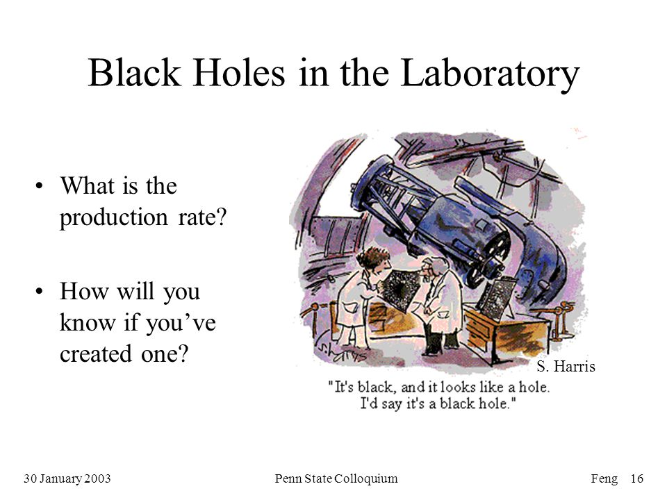 30 January 2003Penn State ColloquiumFeng 16 Black Holes in the Laboratory What is the production rate.