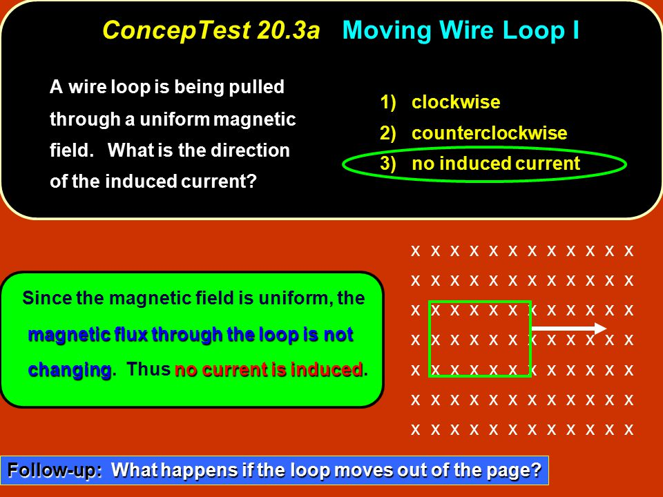 magnetic flux through the loop is not changingno current is induced Since the magnetic field is uniform, the magnetic flux through the loop is not changing.