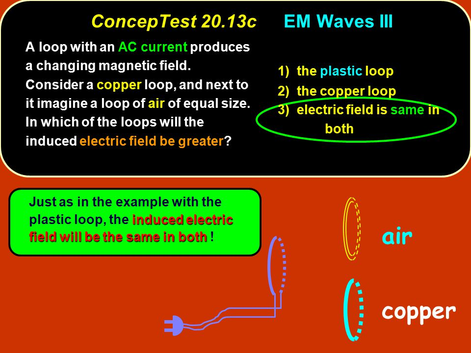 ConcepTest 20.13cEM Waves III ConcepTest 20.13c EM Waves III A loop with an AC current produces a changing magnetic field.