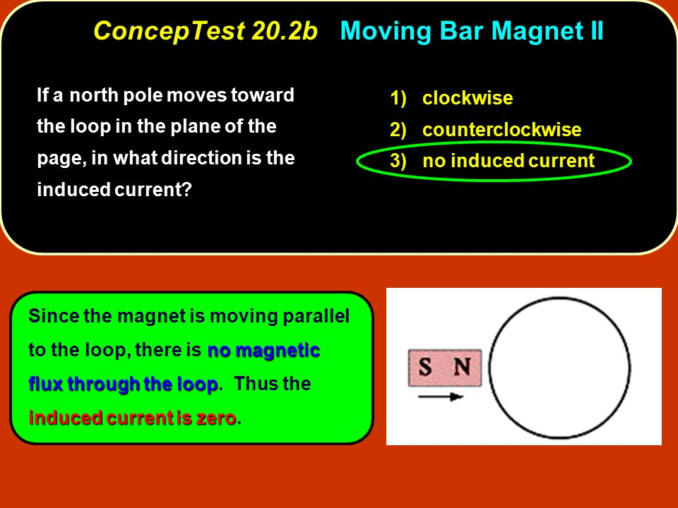 no magnetic flux through the loop induced current is zero Since the magnet is moving parallel to the loop, there is no magnetic flux through the loop.
