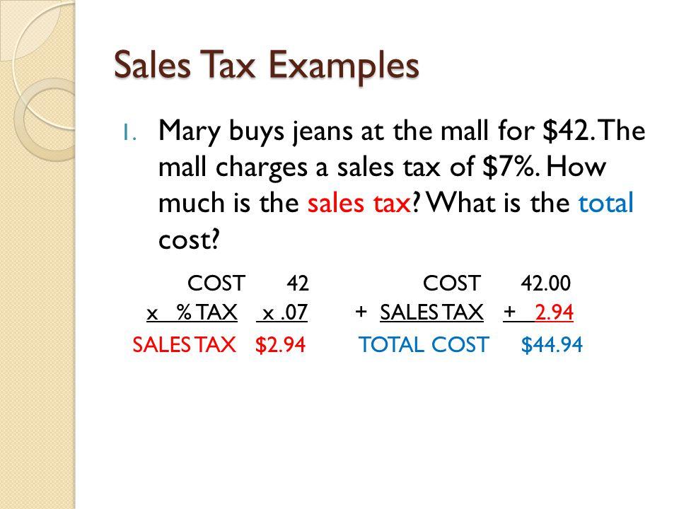 Sales Tax Examples Data Set