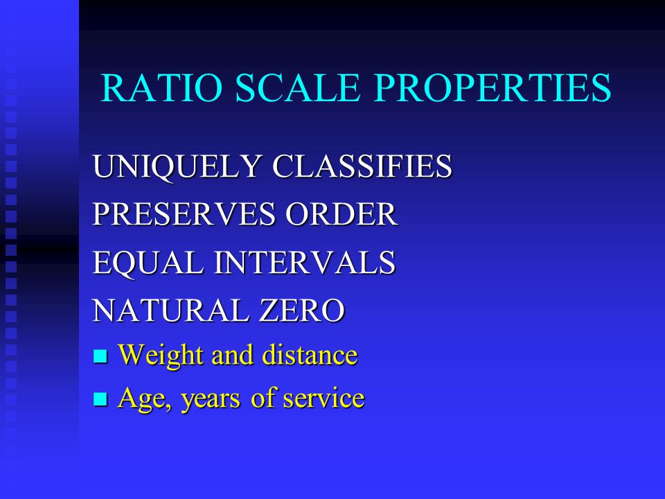 RATIO SCALE PROPERTIES UNIQUELY CLASSIFIES PRESERVES ORDER EQUAL INTERVALS NATURAL ZERO Weight and distance Weight and distance Age, years of service Age, years of service
