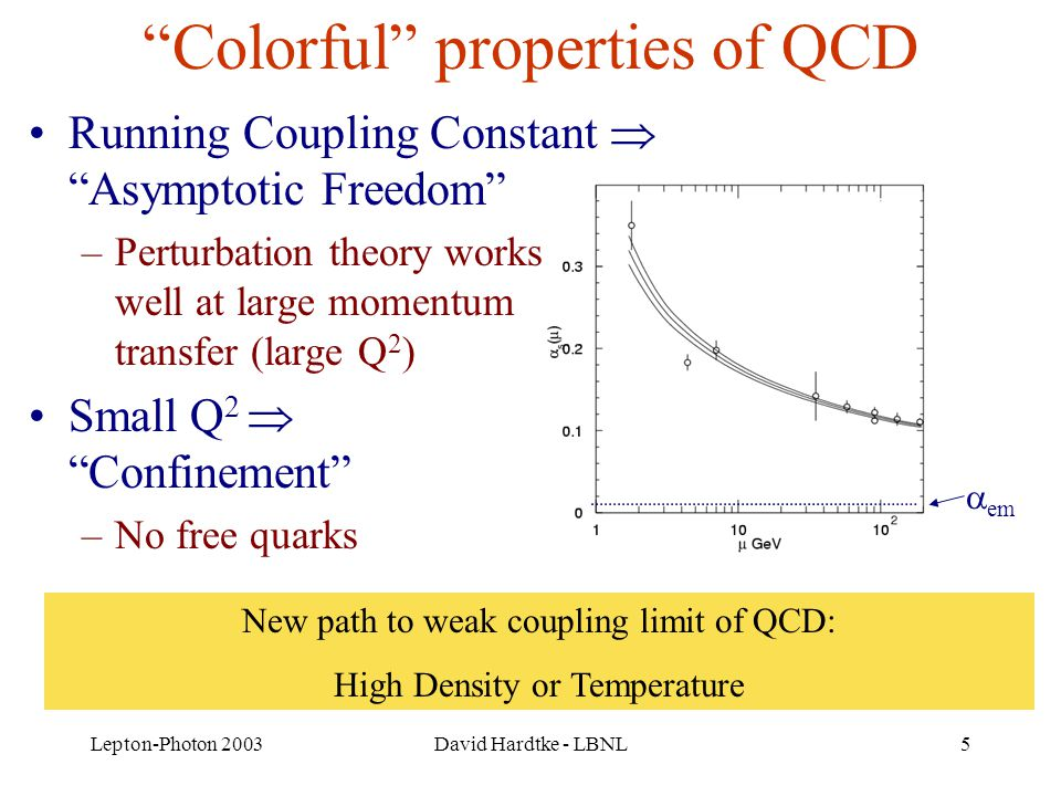 Lepton-Photon 2003David Hardtke - LBNL5 Colorful properties of QCD Running Coupling Constant  Asymptotic Freedom –Perturbation theory works well at large momentum transfer (large Q 2 ) Small Q 2  Confinement –No free quarks  em New path to weak coupling limit of QCD: High Density or Temperature