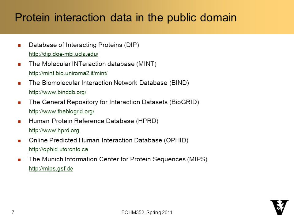 BCHM352, Spring 2011 Protein interaction data in the public domain Database of Interacting Proteins (DIP)   The Molecular INTeraction database (MINT)   The Biomolecular Interaction Network Database (BIND)   The General Repository for Interaction Datasets (BioGRID)   Human Protein Reference Database (HPRD)   Online Predicted Human Interaction Database (OPHID)   The Munich Information Center for Protein Sequences (MIPS)   7