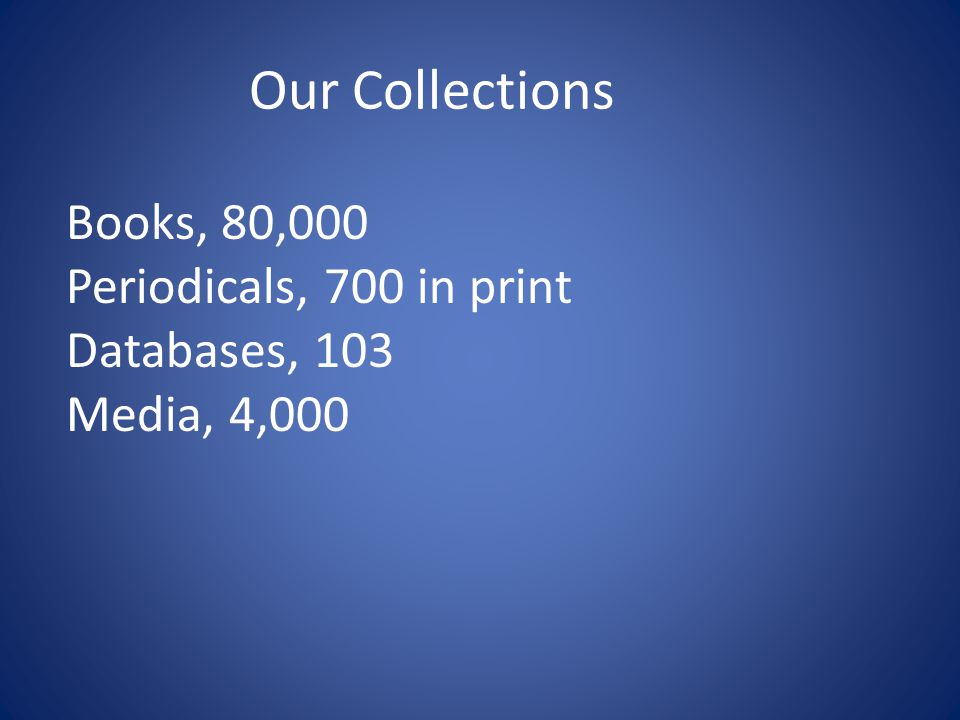 Our Collections Books, 80,000 Periodicals, 700 in print Databases, 103 Media, 4,000