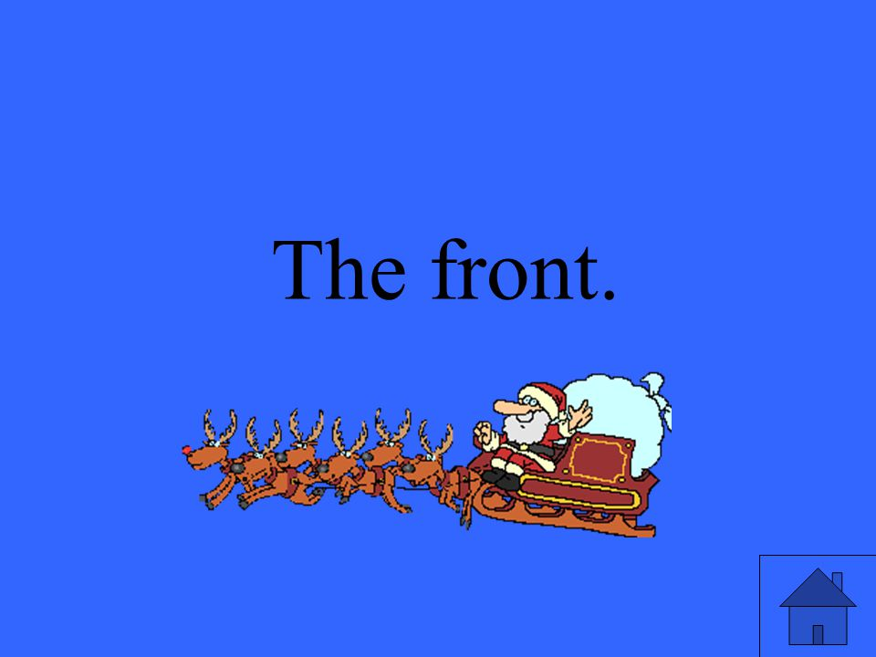 8 Where on the sleigh is Rudolph
