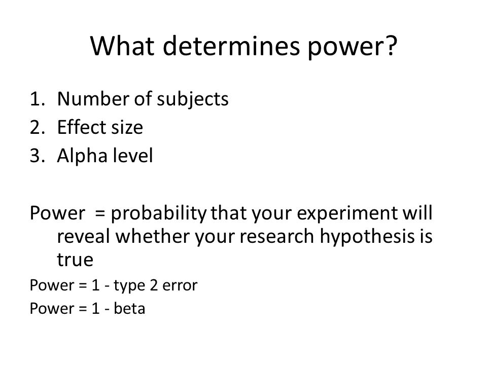 What determines power.