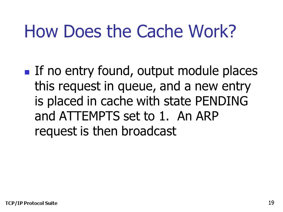 TCP/IP Protocol Suite 19 How Does the Cache Work.