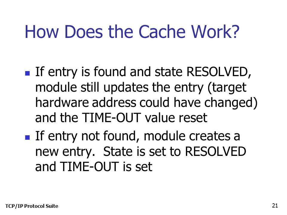 TCP/IP Protocol Suite 21 How Does the Cache Work.
