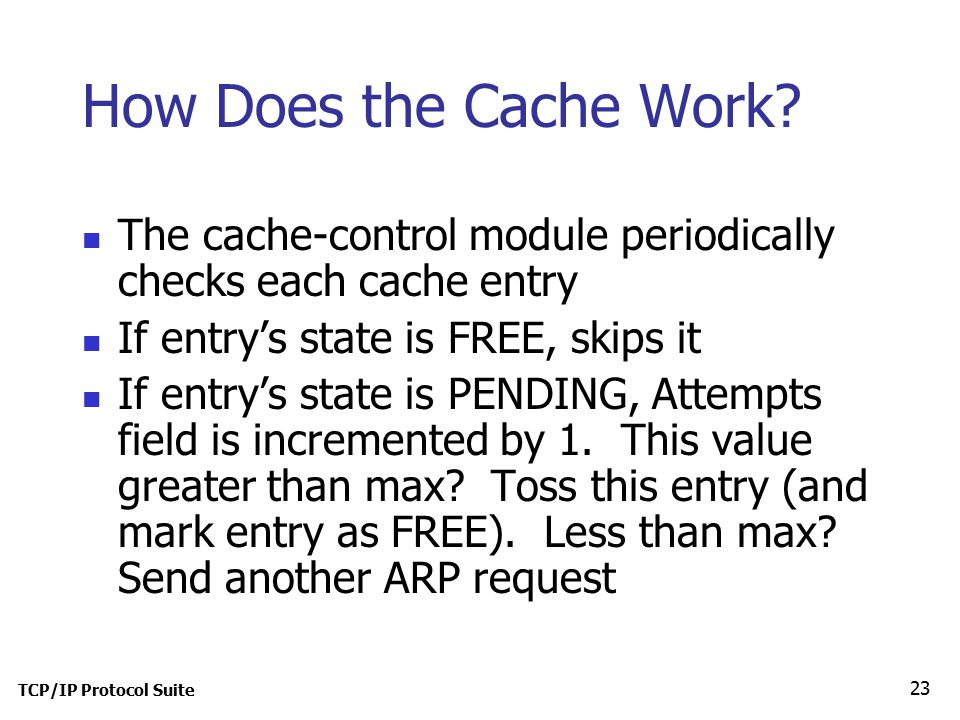 TCP/IP Protocol Suite 23 How Does the Cache Work.