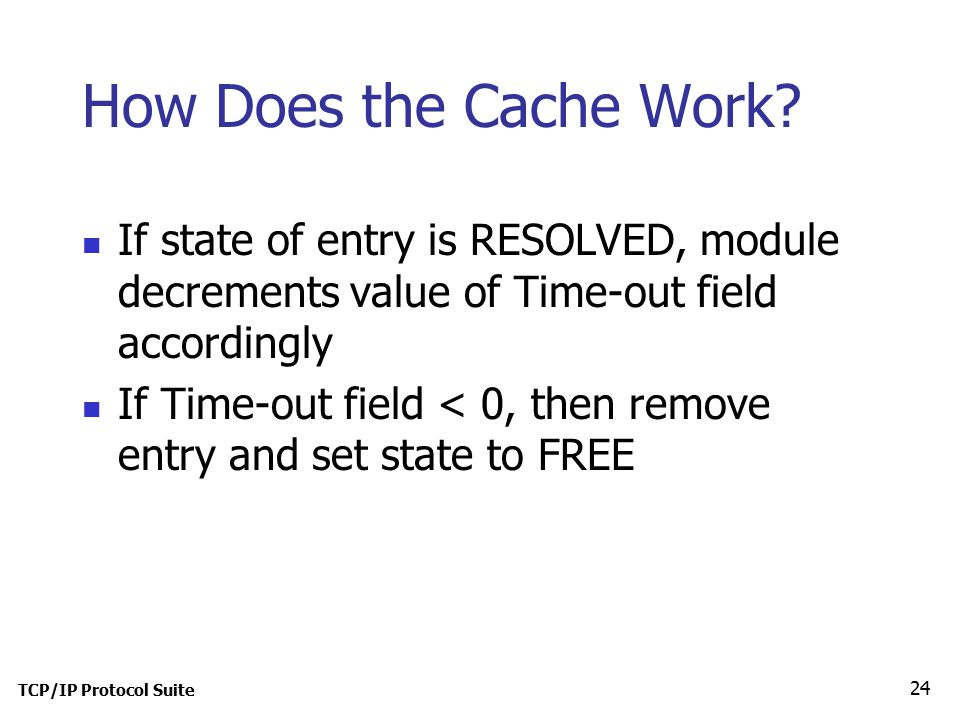 TCP/IP Protocol Suite 24 How Does the Cache Work.