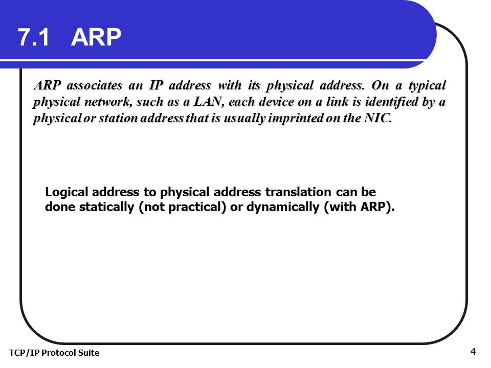 TCP/IP Protocol Suite 4 7.1 ARP ARP associates an IP address with its physical address.