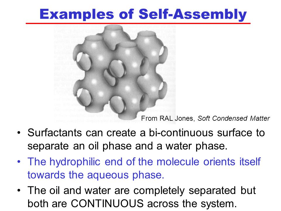 Examples of Self-Assembly Surfactants can create a bi-continuous surface to separate an oil phase and a water phase.