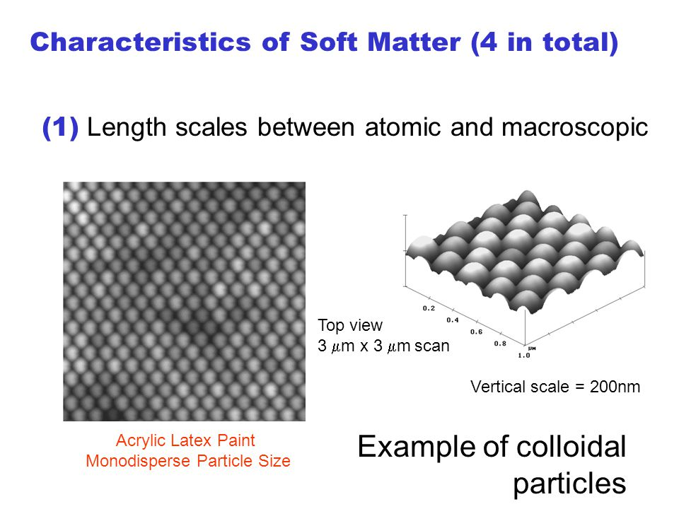 Acrylic Latex Paint Monodisperse Particle Size Vertical scale = 200nm (1) Length scales between atomic and macroscopic Top view 3  m x 3  m scan Characteristics of Soft Matter (4 in total) Example of colloidal particles