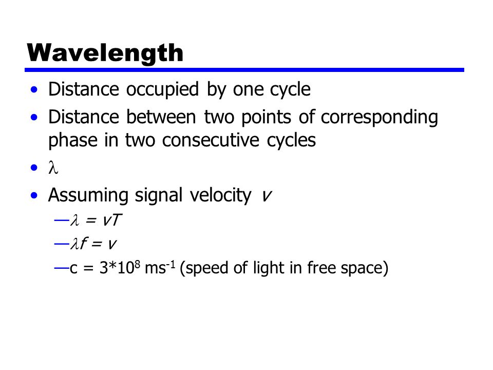 Wavelength Distance occupied by one cycle Distance between two points of corresponding phase in two consecutive cycles Assuming signal velocity v — = vT — f = v —c = 3*10 8 ms -1 (speed of light in free space)