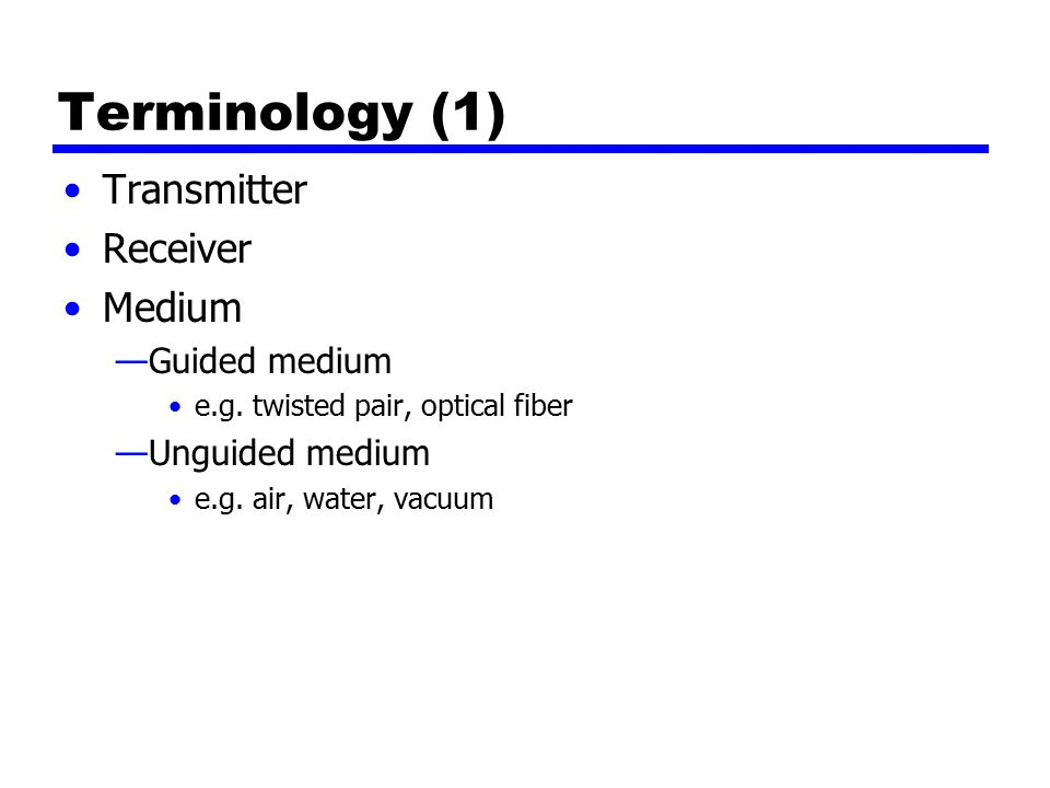 Terminology (1) Transmitter Receiver Medium —Guided medium e.g.