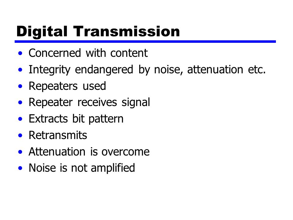 Digital Transmission Concerned with content Integrity endangered by noise, attenuation etc.
