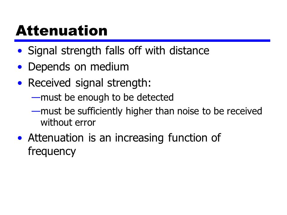 Attenuation Signal strength falls off with distance Depends on medium Received signal strength: —must be enough to be detected —must be sufficiently higher than noise to be received without error Attenuation is an increasing function of frequency