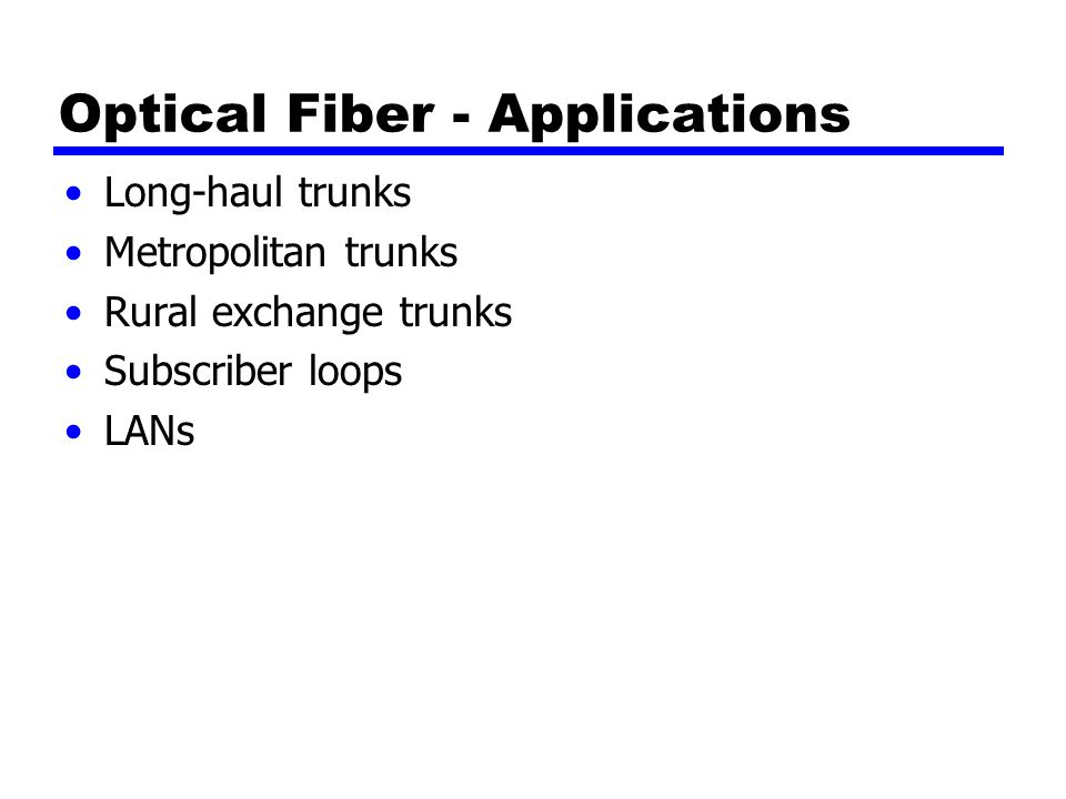 Optical Fiber - Applications Long-haul trunks Metropolitan trunks Rural exchange trunks Subscriber loops LANs