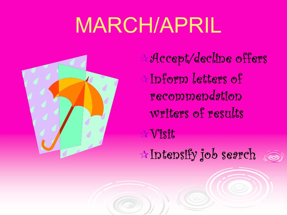  Accept/decline offers  Inform letters of recommendation writers of results  Visit  Intensify job search MARCH/APRIL