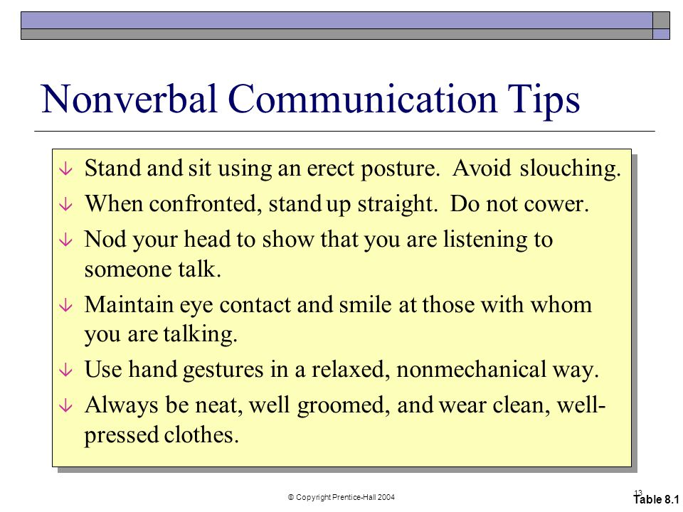 © Copyright Prentice-Hall Nonverbal Communication Tips â Stand and sit using an erect posture.