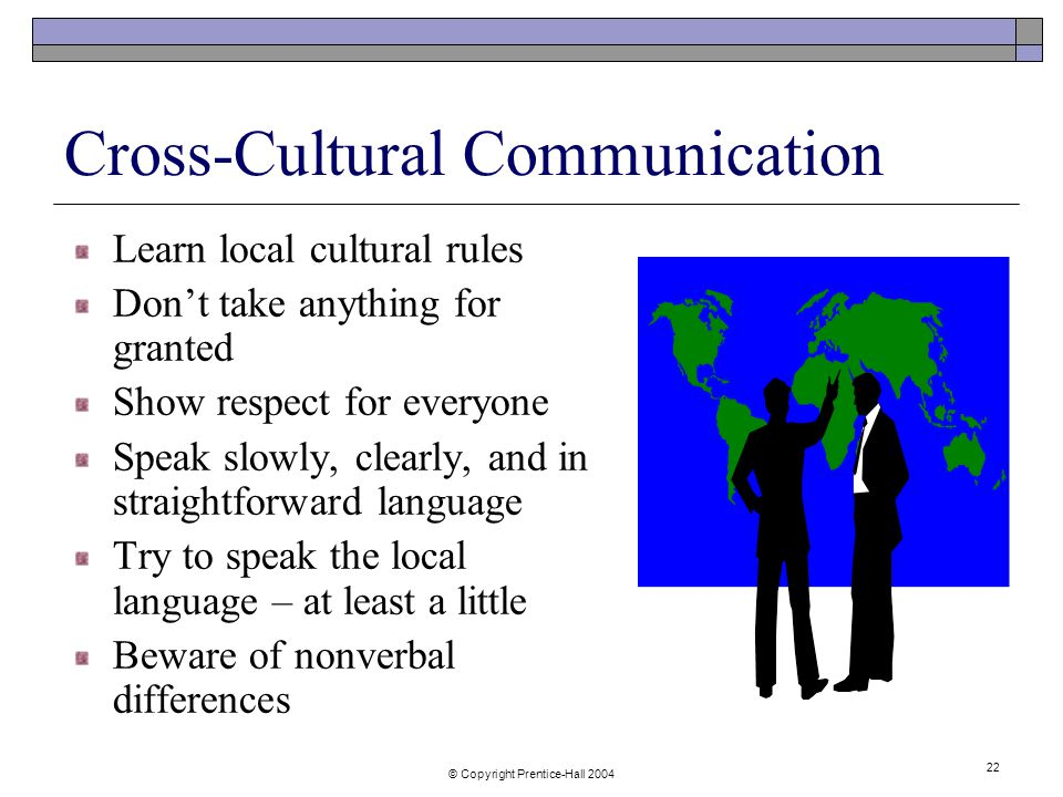 © Copyright Prentice-Hall Cross-Cultural Communication Learn local cultural rules Don't take anything for granted Show respect for everyone Speak slowly, clearly, and in straightforward language Try to speak the local language – at least a little Beware of nonverbal differences