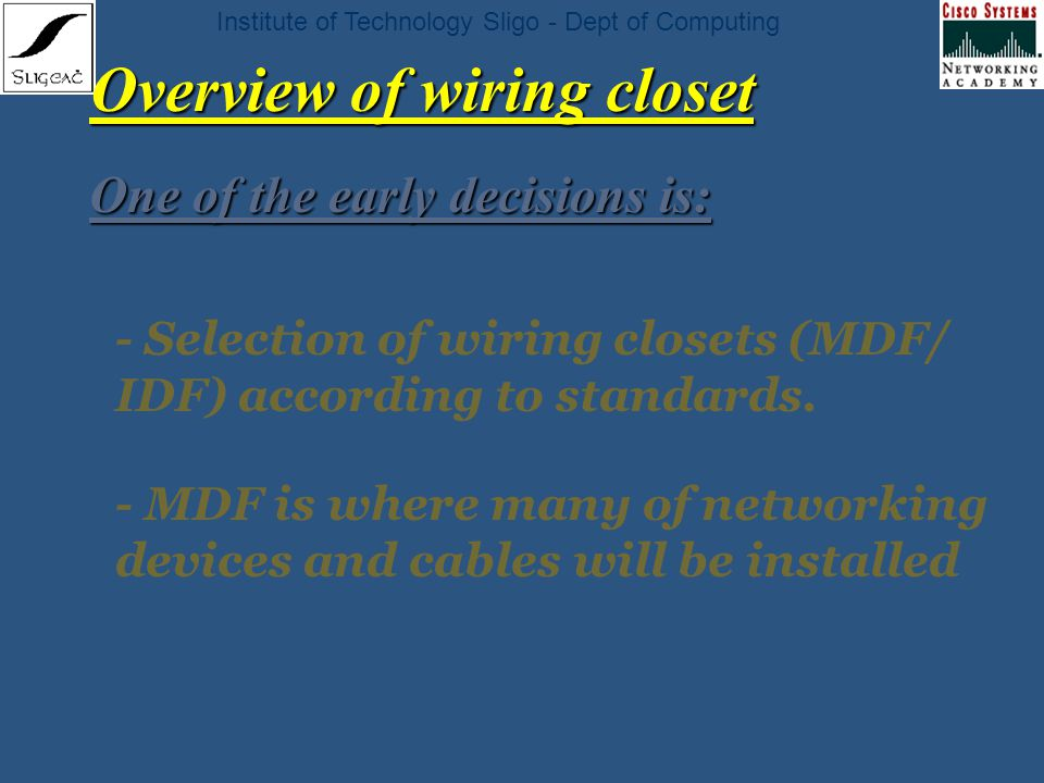 institute of technology sligo dept of computing chapter 8 network rh slideplayer com Residential Wiring Closet Electric Closet Systems