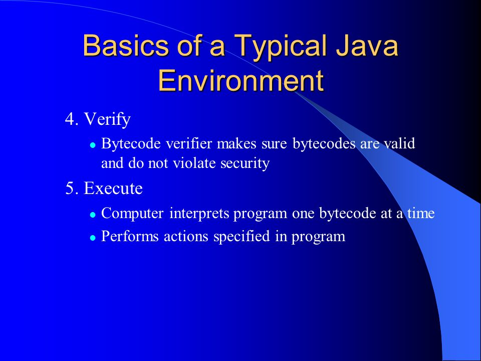 Basics of a Typical Java Environment 4.