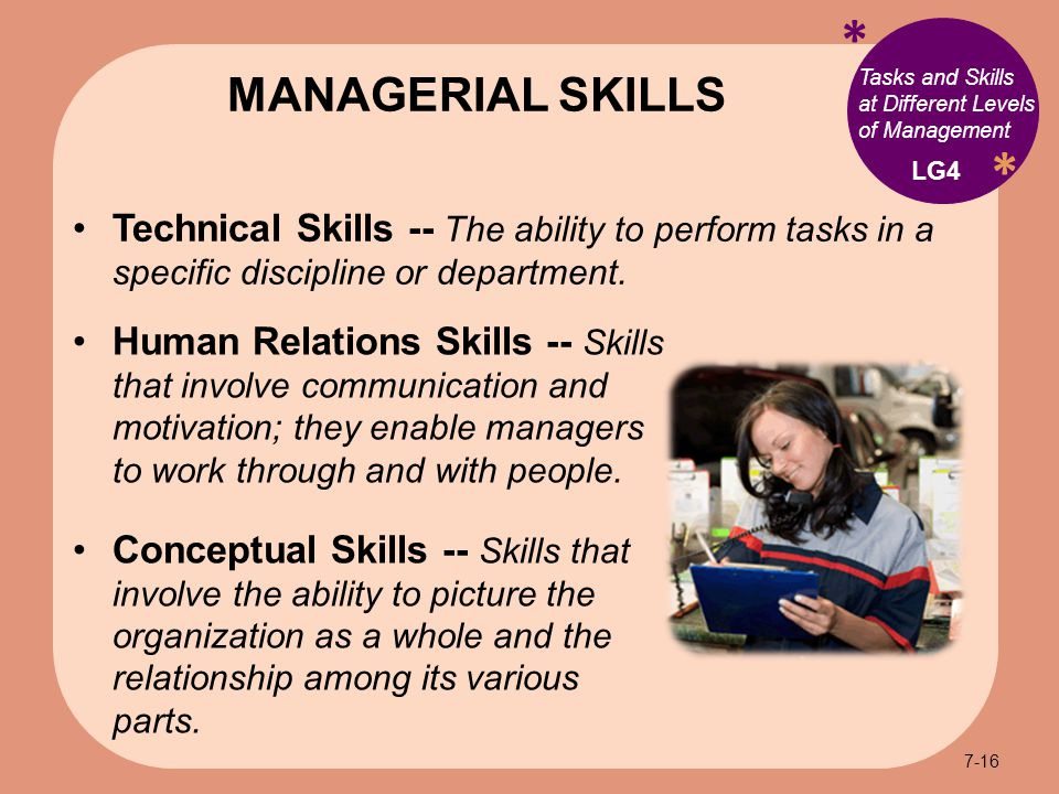 * * Technical Skills -- The ability to perform tasks in a specific discipline or department.