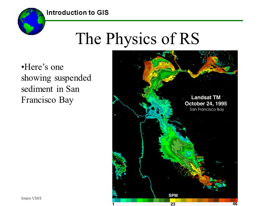 ©2007 Austin Troy The Physics of RS Introduction to GIS Here's one showing suspended sediment in San Francisco Bay Source :USGS