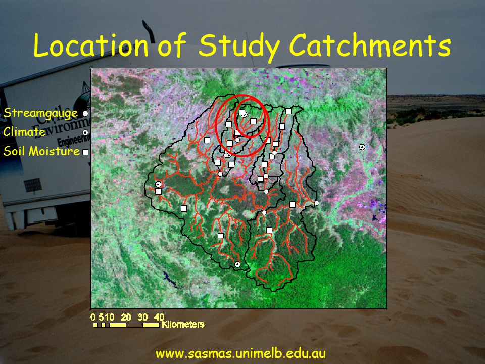 Location of Study Catchments Streamgauge Soil Moisture Climate